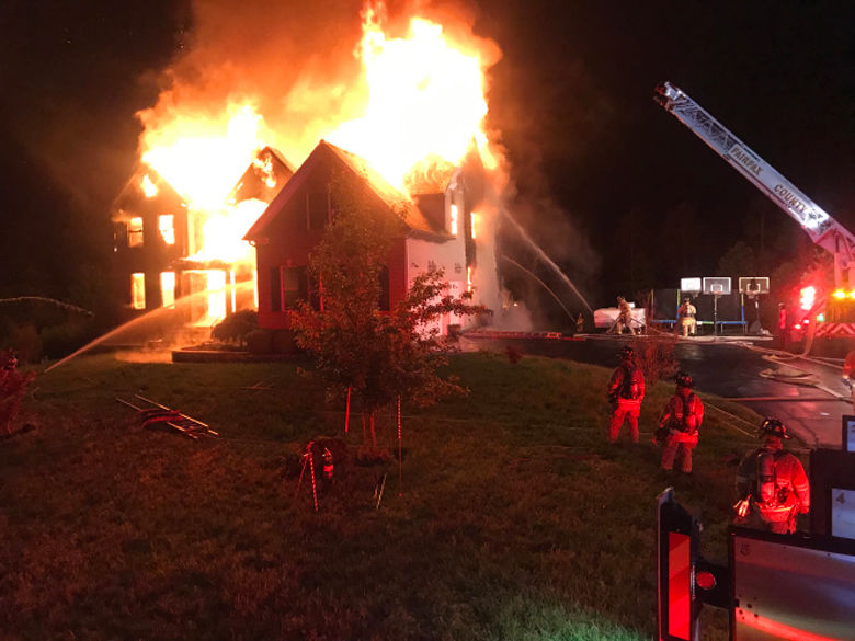The five people who lived in the Centreville, Virginia home jumped from second-story windows to escape. (Courtesy Fairfax County Fire & Rescue)