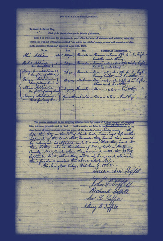 A document by which an enslaved family petitioned for their freedom, and their masters for compensation. (Courtesy U.S. National Archives Records Administration)