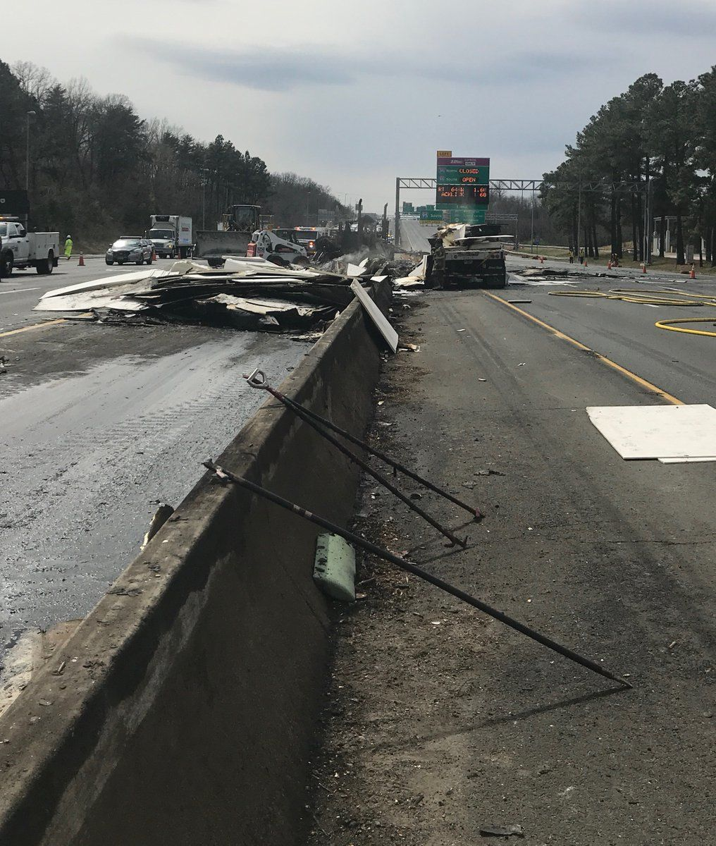 The cleanup was underway after Thursday's crash and fire on the Beltway. (Courtesy Fairfax Fire and Rescue)
