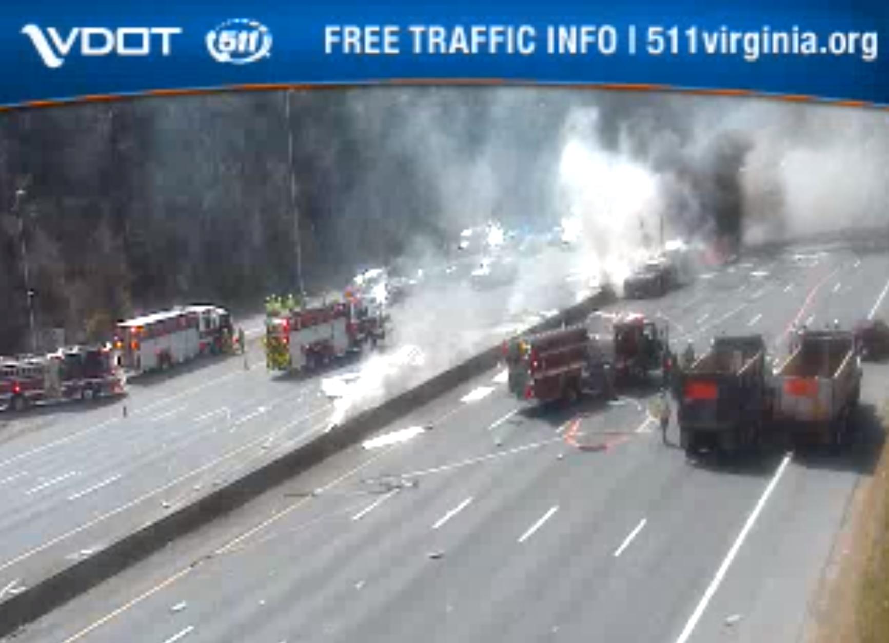 The fire is on the Beltway near Van Dorn Street. (Courtesy VDOT)