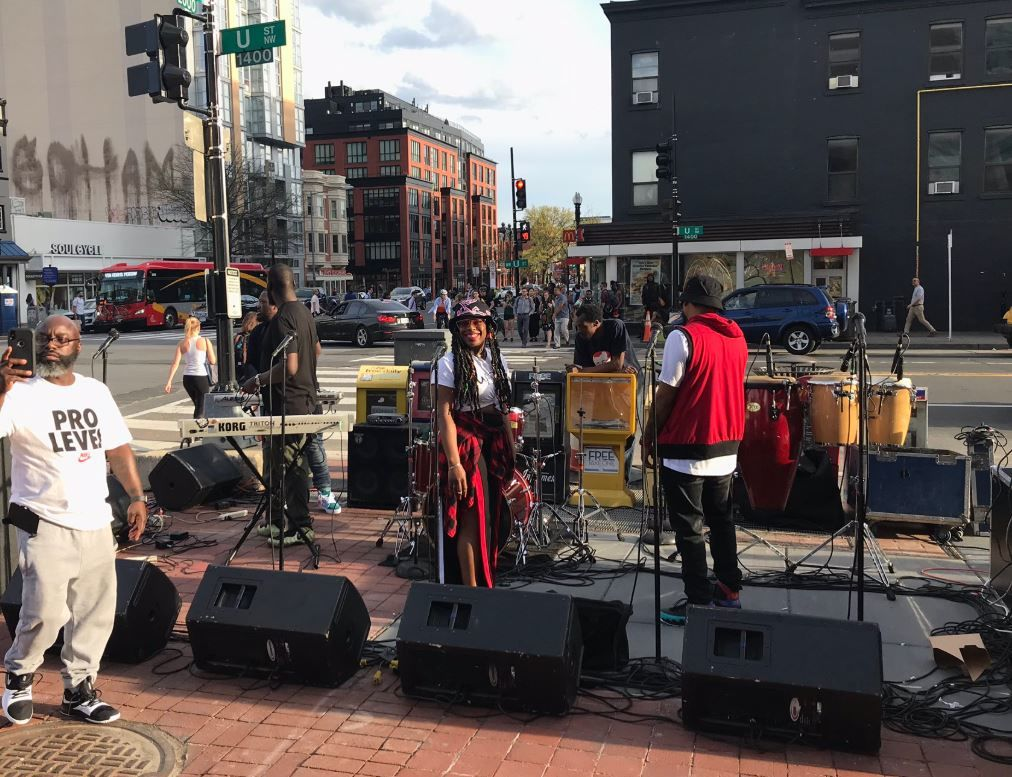 Performers get ready before a concert on Tuesday, April 9, 2019, that is protesting the silencing of go-go music from a store in D.C.'s Shaw neighborhood. (WTOP/Michelle Basch)