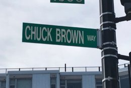 A street named for the godfather of go-go, Chuck Brown, is near the store. Go-go music originated in D.C. and activists said attempts to silence a store that has played it for the last 24 years is erasure of D.C.'s history and culture. (WTOP/Michelle Basch)