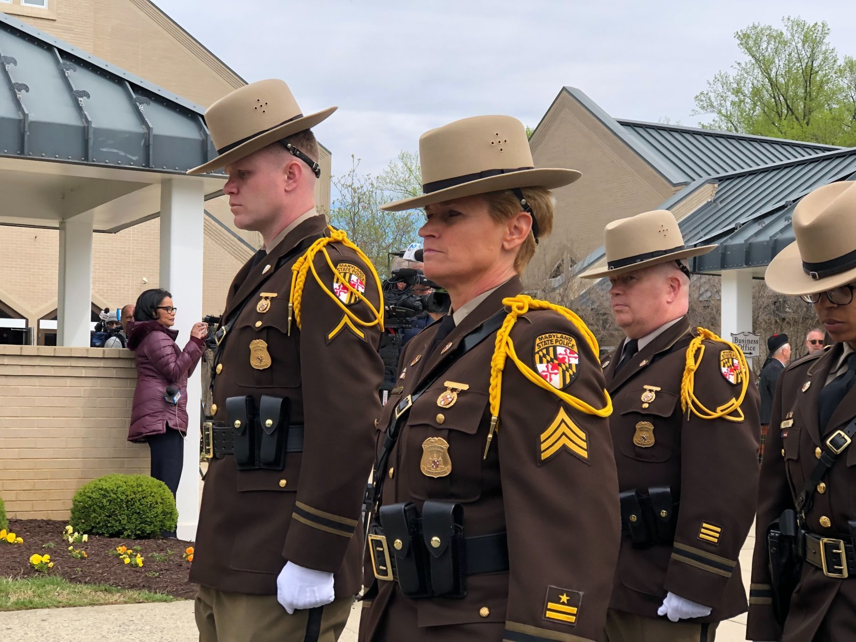 Members of the Maryland State Police Honor Guard at the funeral for House Speaker Michael Busch. (WTOP/Kate Ryan)