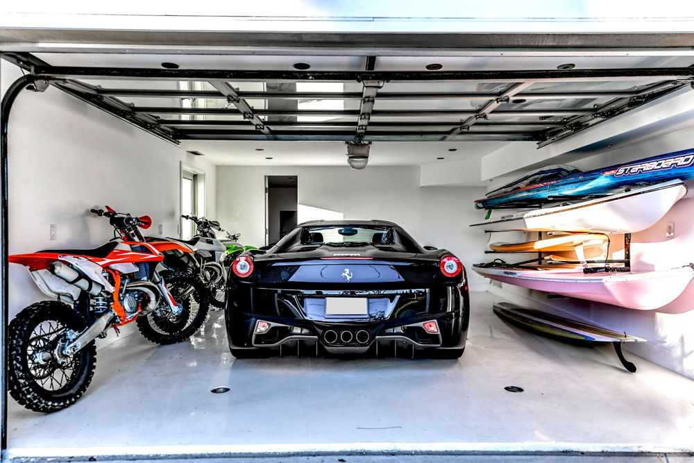 There's no room for clutter in this garage -- a glass door shows off your ride. (Courtesy Svetlana Leahy)
