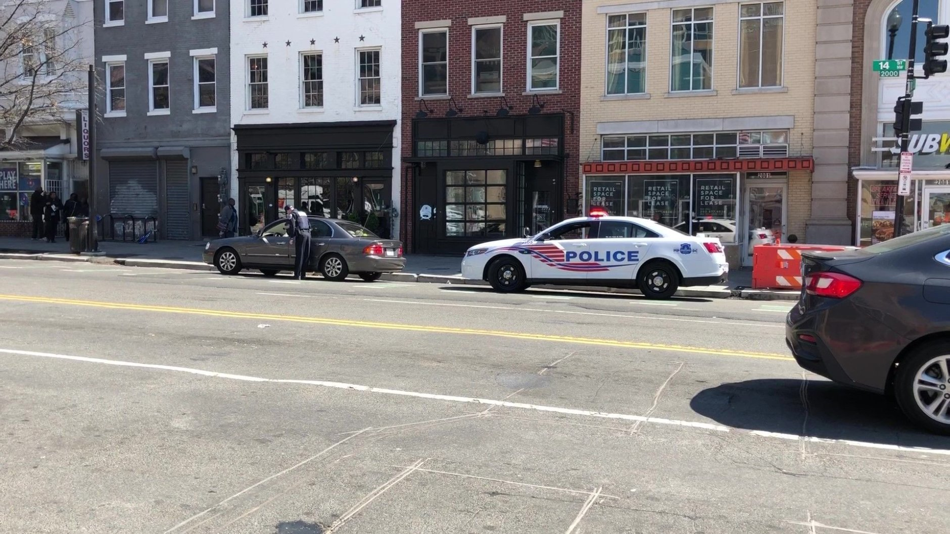 During the enforcement effort Wednesday, vehicles were pulled over near the intersection of 14th and U streets in Northwest D.C. (WTOP/Kristi King)