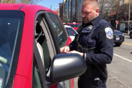 "D.C. police conducted an aggressive enforcement effort immediately after a Wednesday news conference announcing the ""Don't Drive Intoxicated—Don't Drive Intexticated"" campaign. (WTOP/Kristi King)"