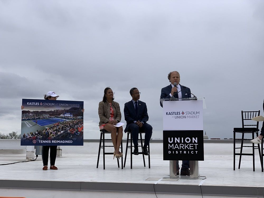 Owner of the Washington Kastles, Mark Ein, speaks about the new stadium at a press conference on the roof of Union Market in Northeast D.C. Friday, April 12. (WTOP/Noah Frank)