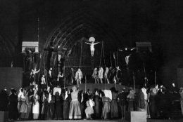 The scene of Golgotha during the Passion Play in Notre Dame, Paris, France on June 4, 1936. (AP Photo)