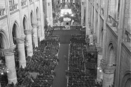 U.S. soldiers fill the pews of Notre Dame Cathedral, Paris, France, April 16, 1945, during the GI memorial service for U.S. President Roosevelt. (AP Photo/Morse)