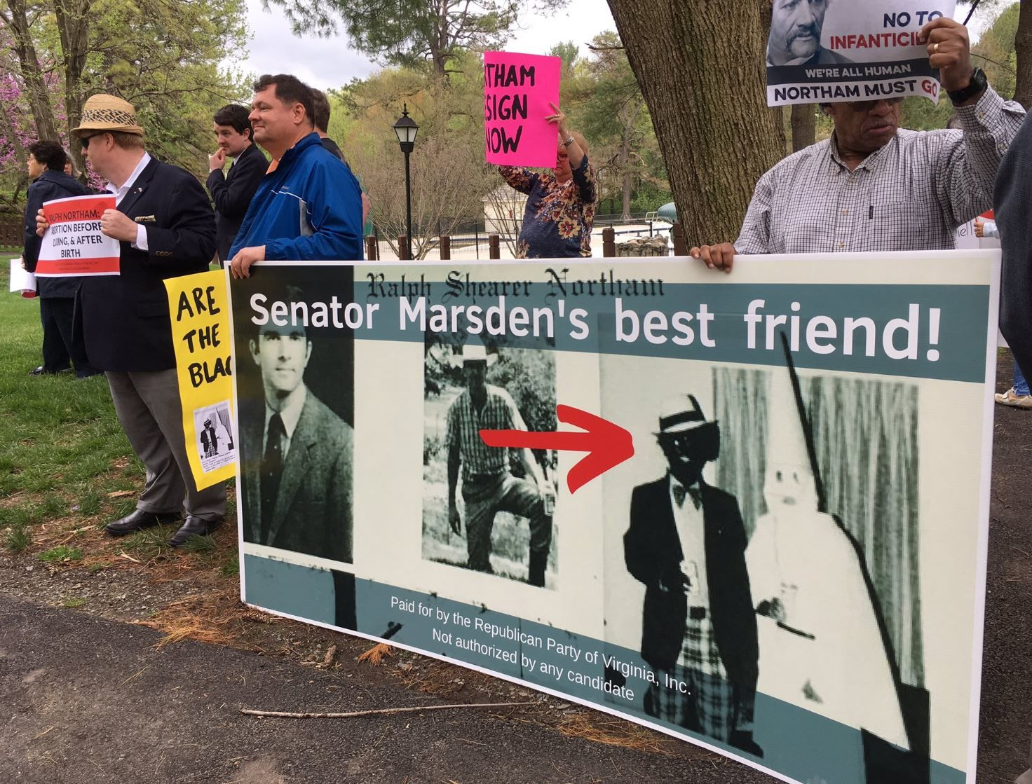 Westlake Legal Group northam 'The outrage stays:' Protesters at Va. fundraiser haven't forgotten Northam racist photo scandal Virginia ralph northam Local Politics and Elections News Local News Latest News Fairfax County, VA News dave marsden burke community church blackface
