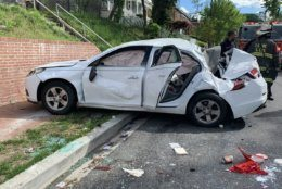 D.C. fire officials say one vehicle rolled over and two people had to be extricated from the vehicle. (Courtesy D.C. Fire and EMS)