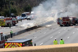 The crash Thursday afternoon blocked the Capital Beltway.(WTOP listener photo)