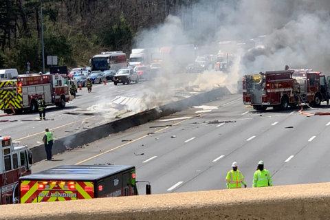 Tractor trailer crash, fire complicates Beltway traffic around Alexandria