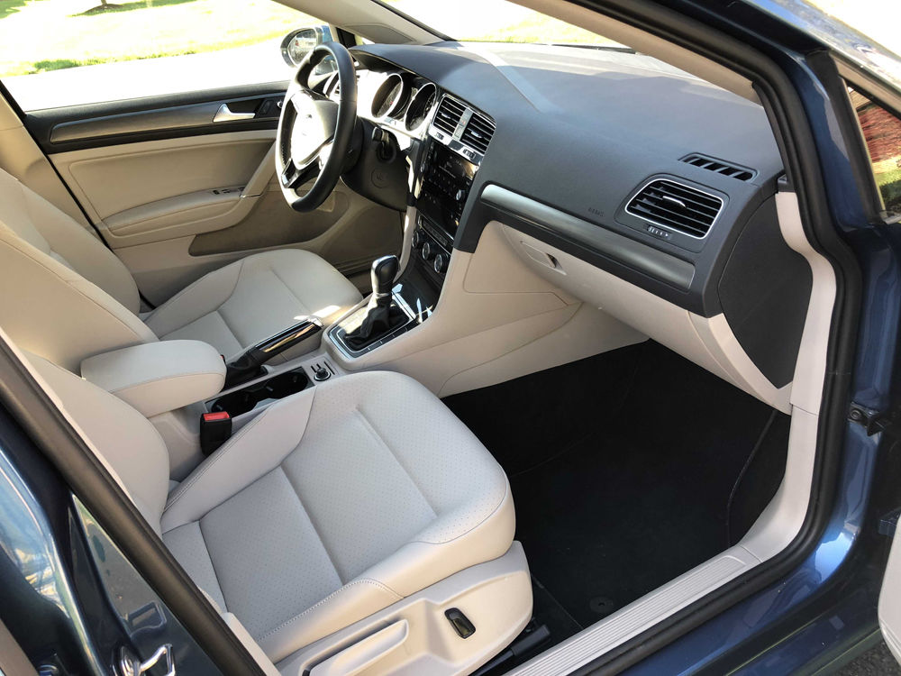 The front seats of the Golf SE are a convincing fake leather called leatherette. (WTOP/Mike Parris)