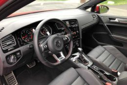 Red stitching on the steering wheel and seats add to the luxurious look of the GTI. (WTOP/Mike Parris)