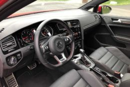 Front seats of the GTI are real leather and the interior is more upscale and polished than the Golf SE. (WTOP/Mike Parris)