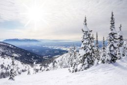 White winter landscape against the sun with fluffy clouds in Whitefish, Montana, overlooking Glacier National Park.