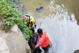 Two people were hospitalized after a car overturned in the C&O Canal on Wednesday morning. (Courtesy Montgomery County Fire & EMS)