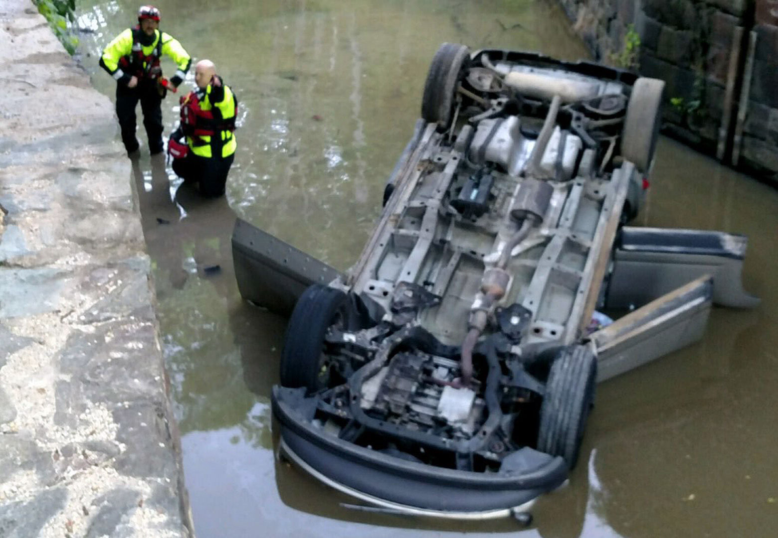 A car overturned in the C&O Canal Wednesday morning. (Courtesy Montgomery County Fire & EMS)