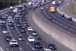 Traffic is heavy and slow on I-66 eastbound at Exit 47. (Courtesy VDOT)