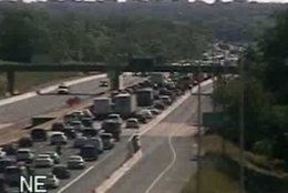 Traffic is heavy and slow on I-66 eastbound at Exit 47 on Tuesday morning following a fatal crash. (Courtesy VDOT)