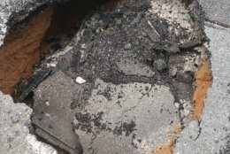 A hole in River Road has sparked emergency repairs. (Courtesy Maryland State Highway Administration)