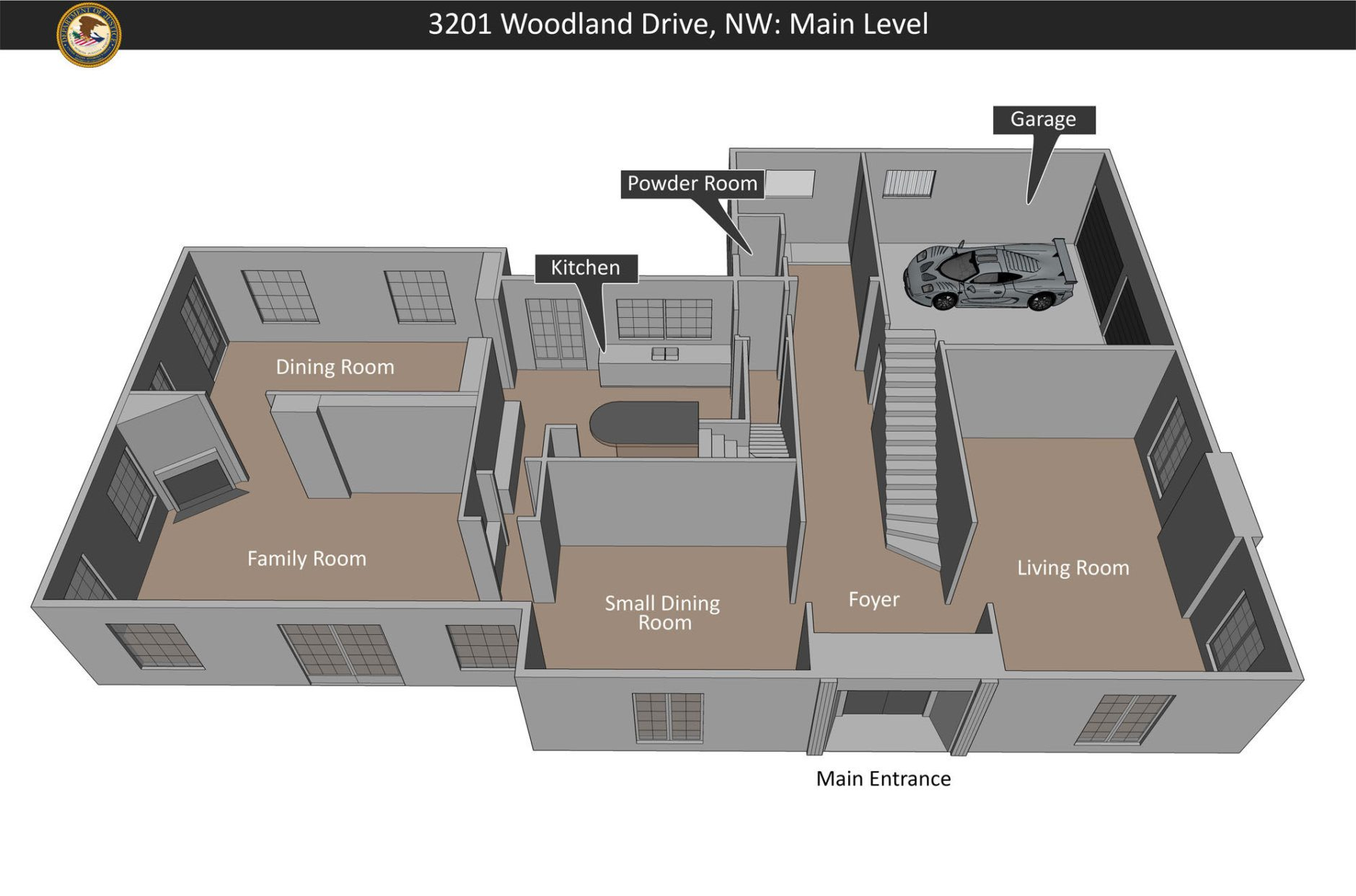 A layout of the first floor of 3201 Woodland Drive. (Courtesy U.S. Attorney Office for D.C. )