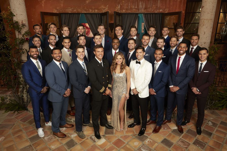 A group shot of Hannah Brown and the 30 men who will try to win her hand in the upcoming 15th season of the Bachelorette. (ABC/Ed Herrera)