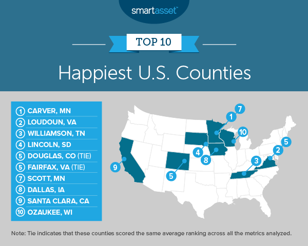 Westlake Legal Group 2019_05_happiest_counties_map-final Loudoun, Fairfax make 'Happiest Counties' list Virginia Smart Asset Poverty Loudoun County, VA News Local News Living News life expectancy Life & Style Latest News jeff clabaugh happy happiest counties Fairfax County, VA News Business & Finance