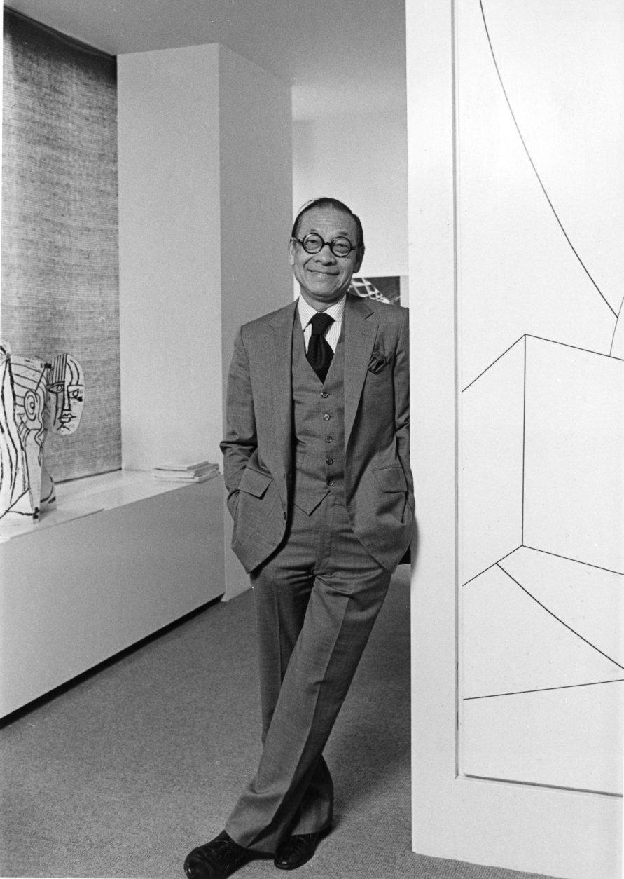 "I.M. Pei poses in his office in office in New York, October 28, 1981. The American architect of Chinese descent has designed such structures as the Boston John Hancock Tower and the John F. Kennedy Library in Dorchester Mass.. The quiet, unassuming architect has been compared to Metternich, the Austrian diplomat whose talents made him the architect of political power in post-Napoleonic Europe. ""The human condition is very important to me and architectur reflects the human condition"", Pei states. (AP Photo/M. Reichenthal)"