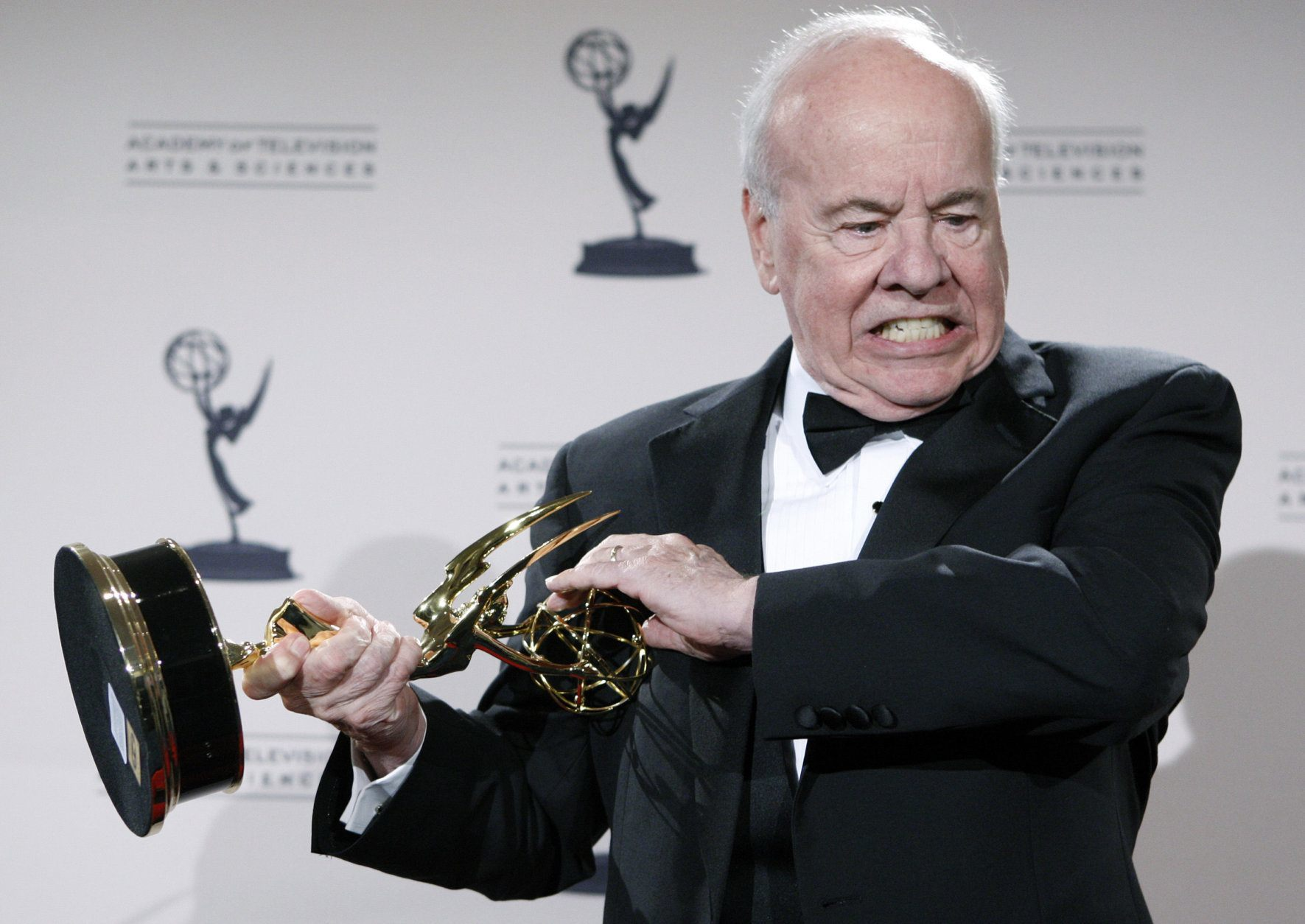 """Actor Tim Conway poses with his award for Outstanding Guest Actor in a Comedy Series for his work on """"30 Rock"""" in the press room at the Creative Arts Emmy Awards in Los Angeles on Saturday, Sept. 13, 2008.  (AP Photo/Matt Sayles)"""