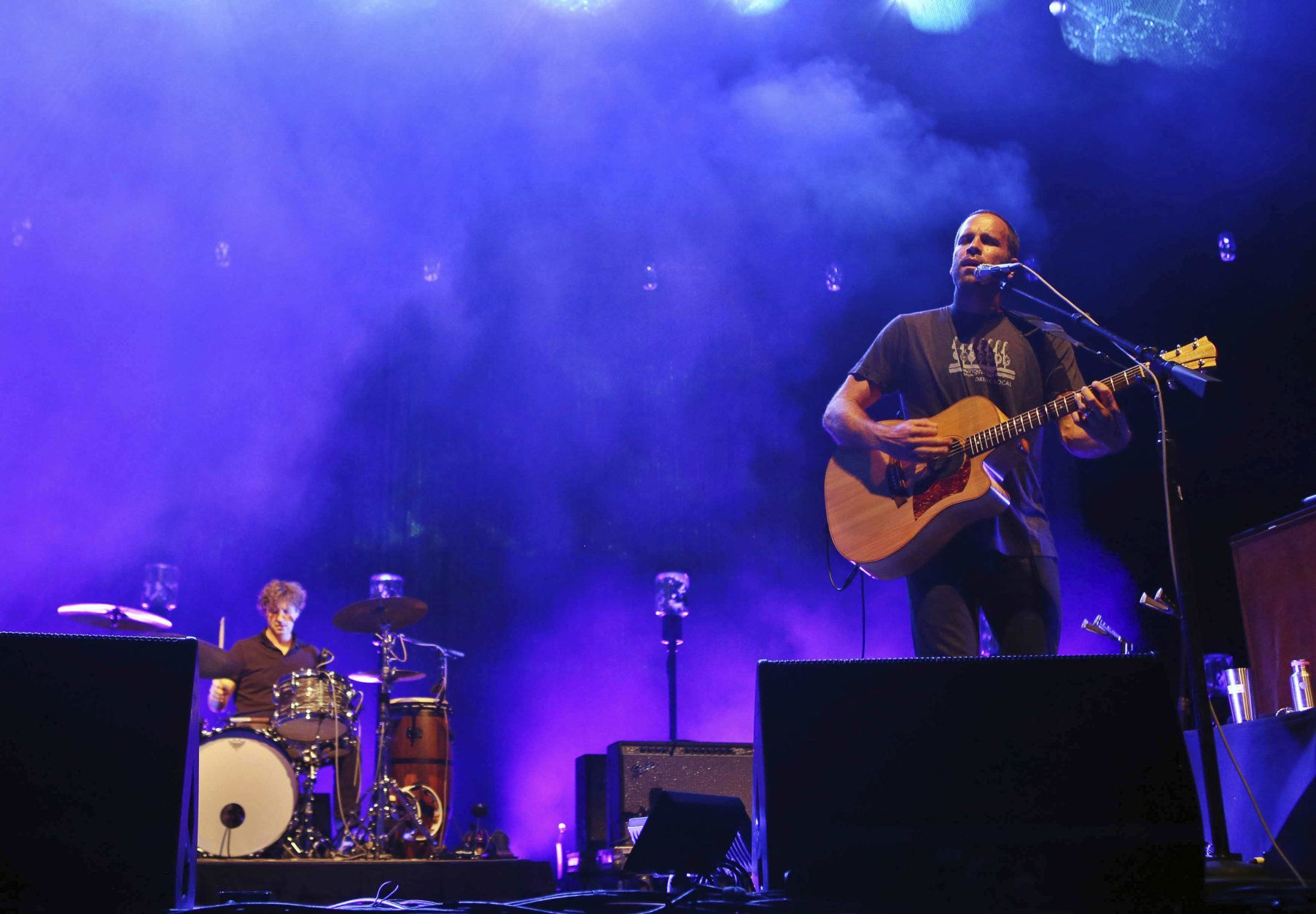 Jack Johnson and musicians perform at Lakewood Amphitheatre on Saturday, September 30, 2017, in Atlanta. (Photo by Katie Darby/Invision/AP)