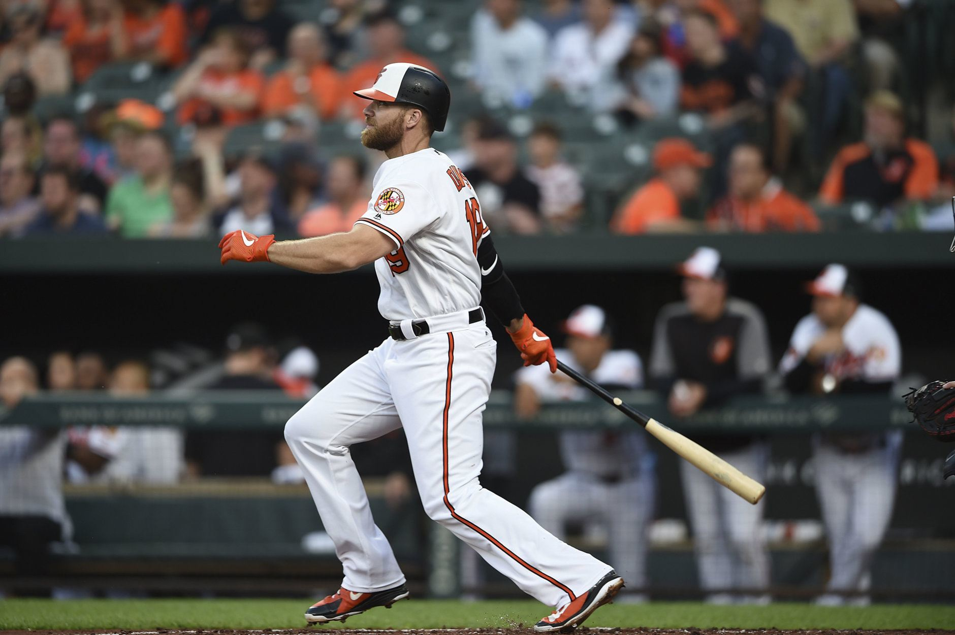 Baltimore Orioles' Chris Davis at bat against the Boston Red Sox in a baseball game, Tuesday, May 7, 2019, in Baltimore. (AP Photo/Gail Burton)