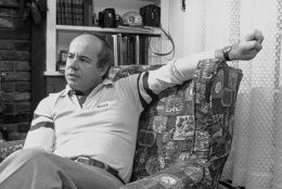 """Comedian Tim Conway discusses his efforts promote G-Rated comedy movies during an interview at the home of his parents in this community east of Cleveland on Dec. 21, 1977 in Chagrin Falls. Conway and his family was making a holiday visit. """"There's market for good comedy – movies without anyone taking their clothes off,"""" he said. (AP Photo)"""