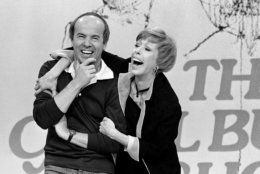 """Carol Burnett shares a laugh with Tim Conway during taping of her final show , March 19, 1978  after 11 years of music and comedy on CBS.     """"I think it's classier to leave before you're asked to leave, """" Miss Burnett said during a break in Friday's taping.   """"I'm proud of our show. I'm no dummy. It's time to put it to bed. """"     (AP Photo/ George Brich)"""