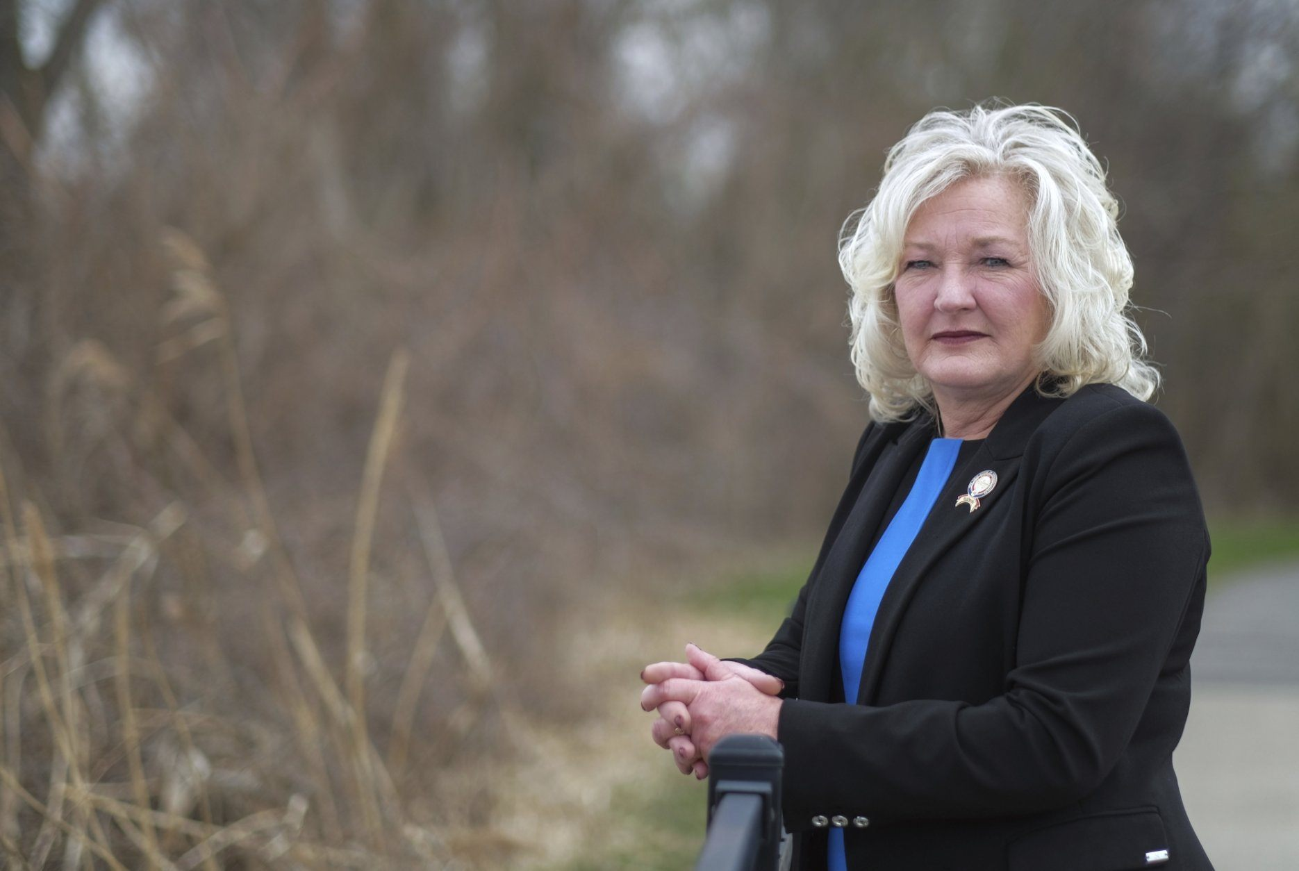 In this April 16, 2019, photo, State Rep. Lisa Sobecki, D-Toledo, poses for a photo at Bay View Park in Toledo, Ohio. She shared her story of a rape and subsequent abortion on the House floor during deliberations on the heartbeat abortion ban. (Jeremy Wadsworth/The Blade via AP)
