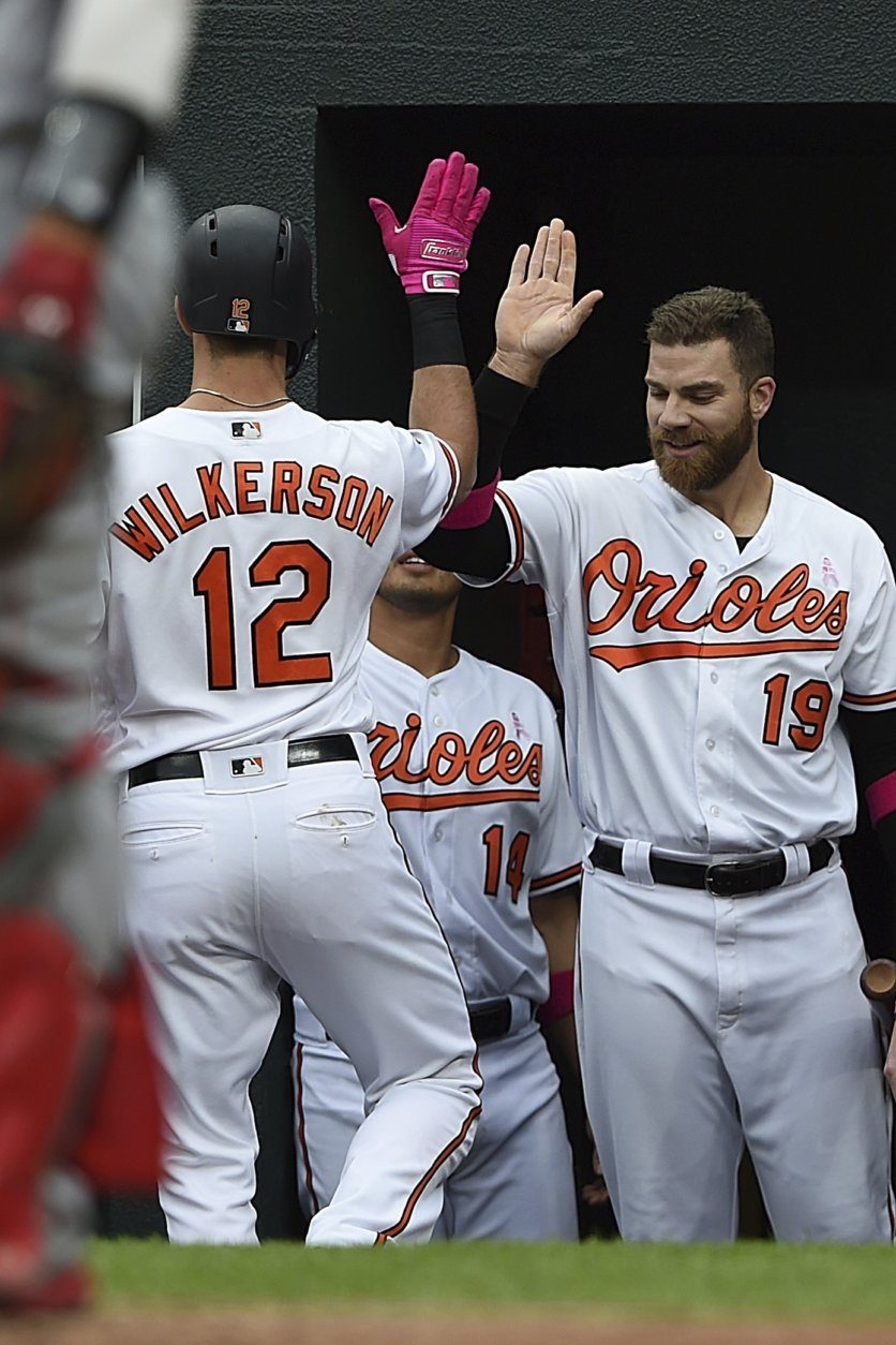 Baltimore Orioles' Stevie Wilkerson, left, is congratulated by Chris Davis after Wilkersons' solo home run against the Los Angeles Angels in the second inning of a baseball game, Sunday, May 12, 2019, in Baltimore. Davis also had a home run in the second inning. (AP Photo/Gail Burton)