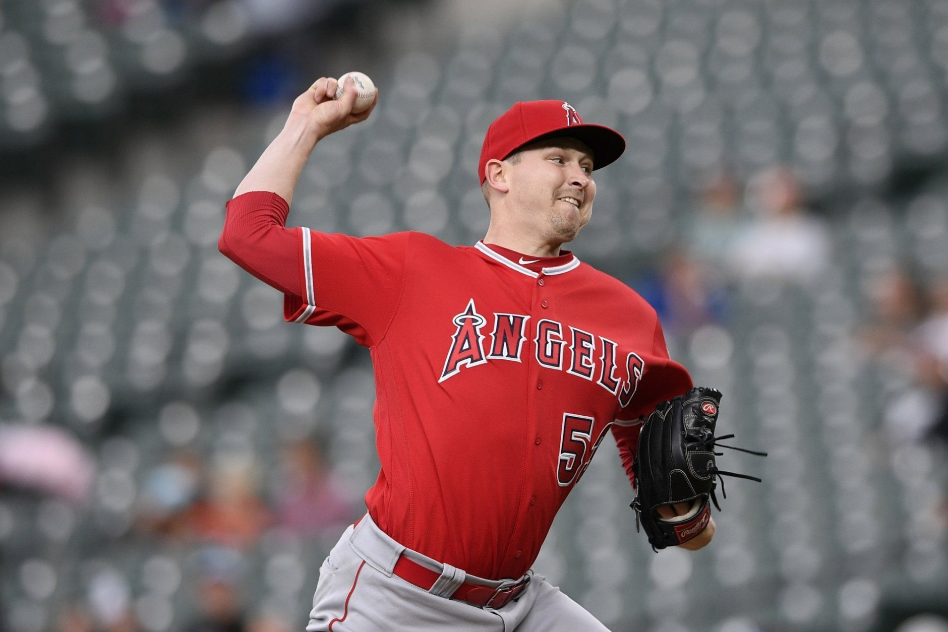 Los Angeles Angels starting pitcher Trevor Cahill throws during the first inning of the team's baseball game against the Baltimore Orioles, Friday, May 10, 2019, in Baltimore. (AP Photo/Nick Wass)