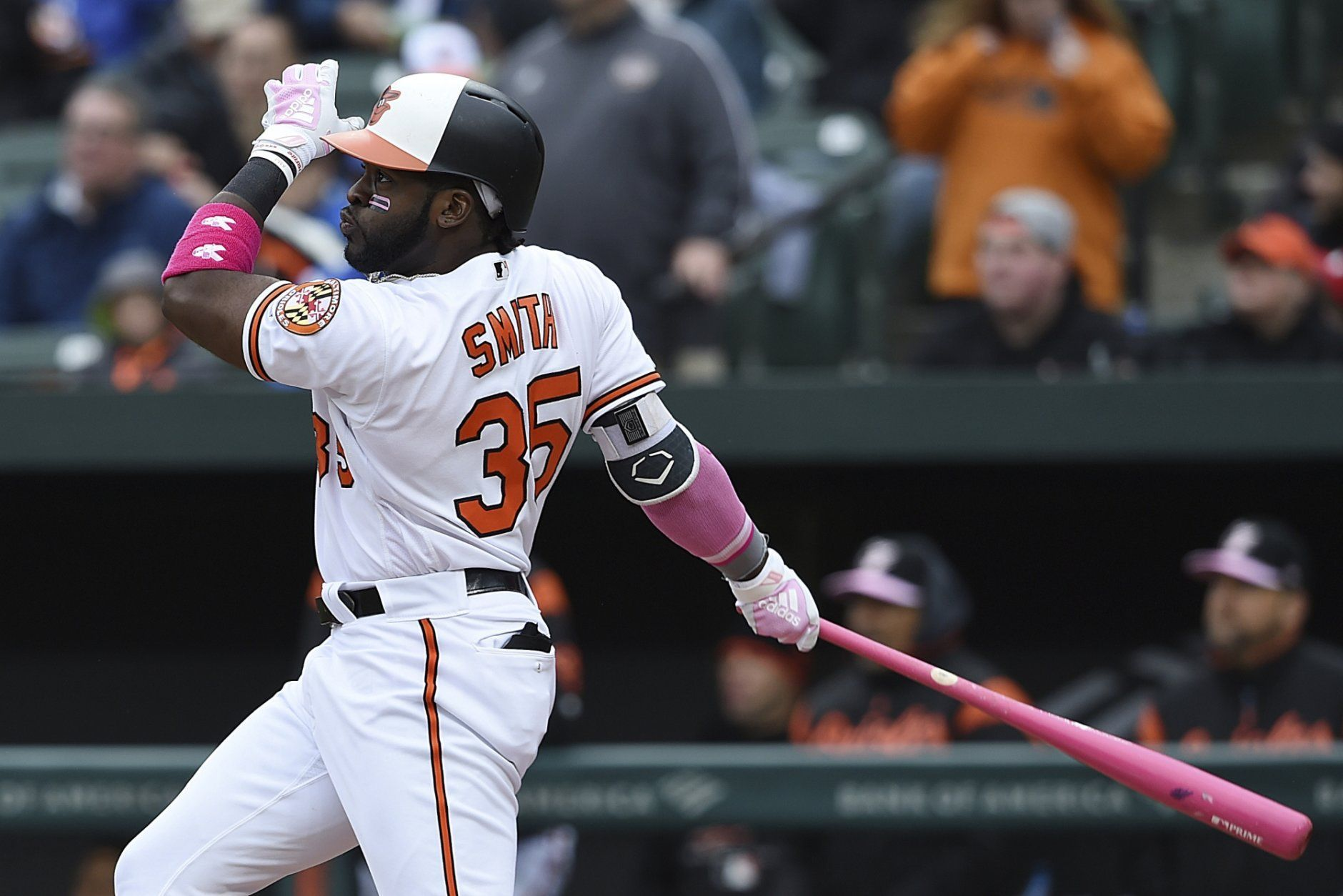 Baltimore Orioles' Dwight Smith Jr. follows through on a two-run home run against the Los Angeles Angels in the third inning of a baseball game, Sunday, May 12, 2019, in Baltimore. (AP Photo/Gail Burton)