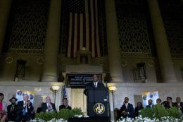 "Baltimore Mayor Bernard ""Jack"" Young speaks to the crowd after being sworn into office during a ceremony at War Memorial Building in Baltimore, Thursday, May 9, 2019. Former Mayor Catherine Pugh resigned under pressure, amid a flurry of investigations into whether she arranged bulk sales of her self-published children's books to disguise hundreds of thousands of dollars in kickbacks. (AP Photo/Jose Luis Magana)"