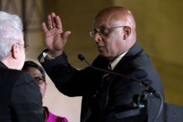 "Baltimore Mayor Bernard ""Jack"" Young is sworn in during the 51st Mayoral Swearing-In Ceremony at War Memorial Building in Baltimore, Thursday, May 9, 2019. Young became Baltimore's interim leader in early April, when then-Mayor Catherine Pugh took leave for what her lawyer described as poor health. She resigned May 2. Pugh is facing investigations into whether she arranged bulk sales of her self-published children's books to disguise hundreds of thousands of dollars in kickbacks. (AP Photo/Jose Luis Magana)"
