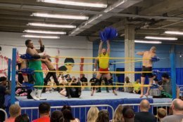 A battle royale qualifier at Grapitol City, an independent professional wrestling bout at DC Brau on May 26. (WTOP/Noah Frank)