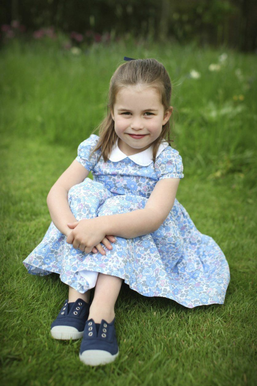This undated photo provided by Kensington Palace on Wednesday, May 1, 2019, and taken by Kate, the Duchess of Cambridge, shows Princess Charlotte at their home in Norfolk, England, to mark her fourth birthday on Thursday. (Duchess of Cambridge/Kensington Palace via AP)
