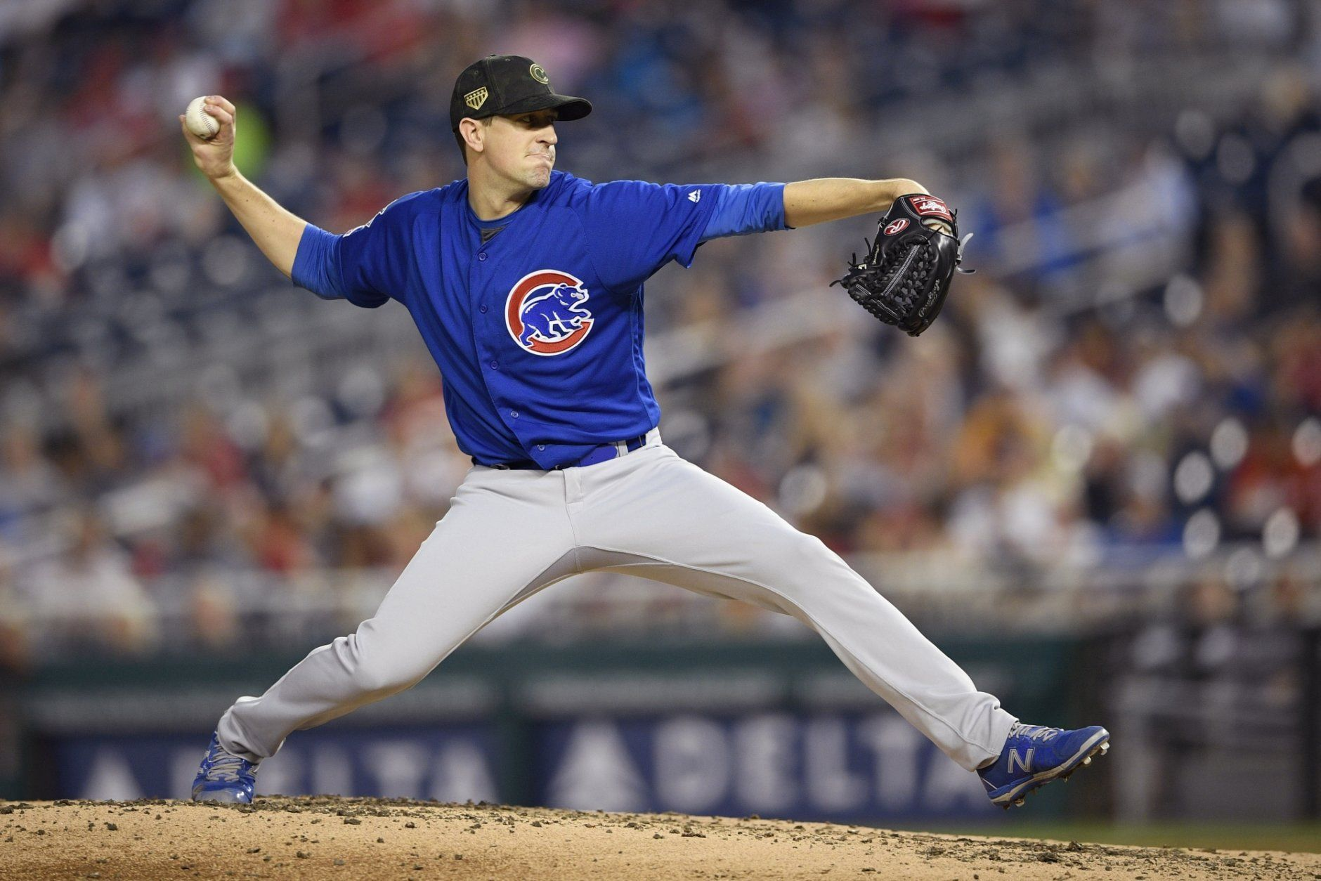 Chicago Cubs starting pitcher Kyle Hendricks delivers during the fourth inning of a baseball game against the Washington Nationals, Sunday, May 19, 2019, in Washington. (AP Photo/Nick Wass)