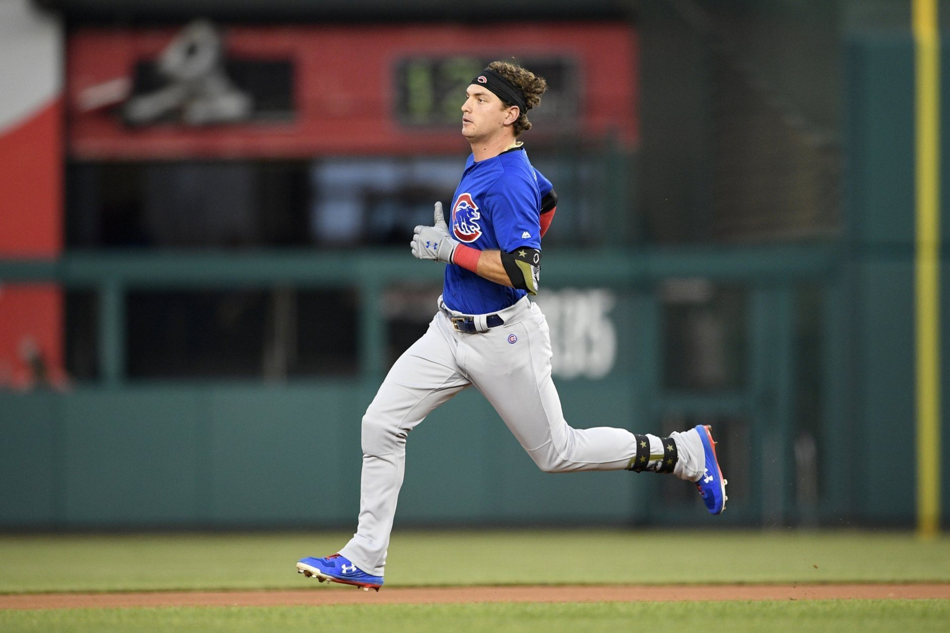 Chicago Cubs' Albert Almora Jr. runs to second with a double during the fourth inning of a baseball game against the Washington Nationals, Sunday, May 19, 2019, in Washington. (AP Photo/Nick Wass)