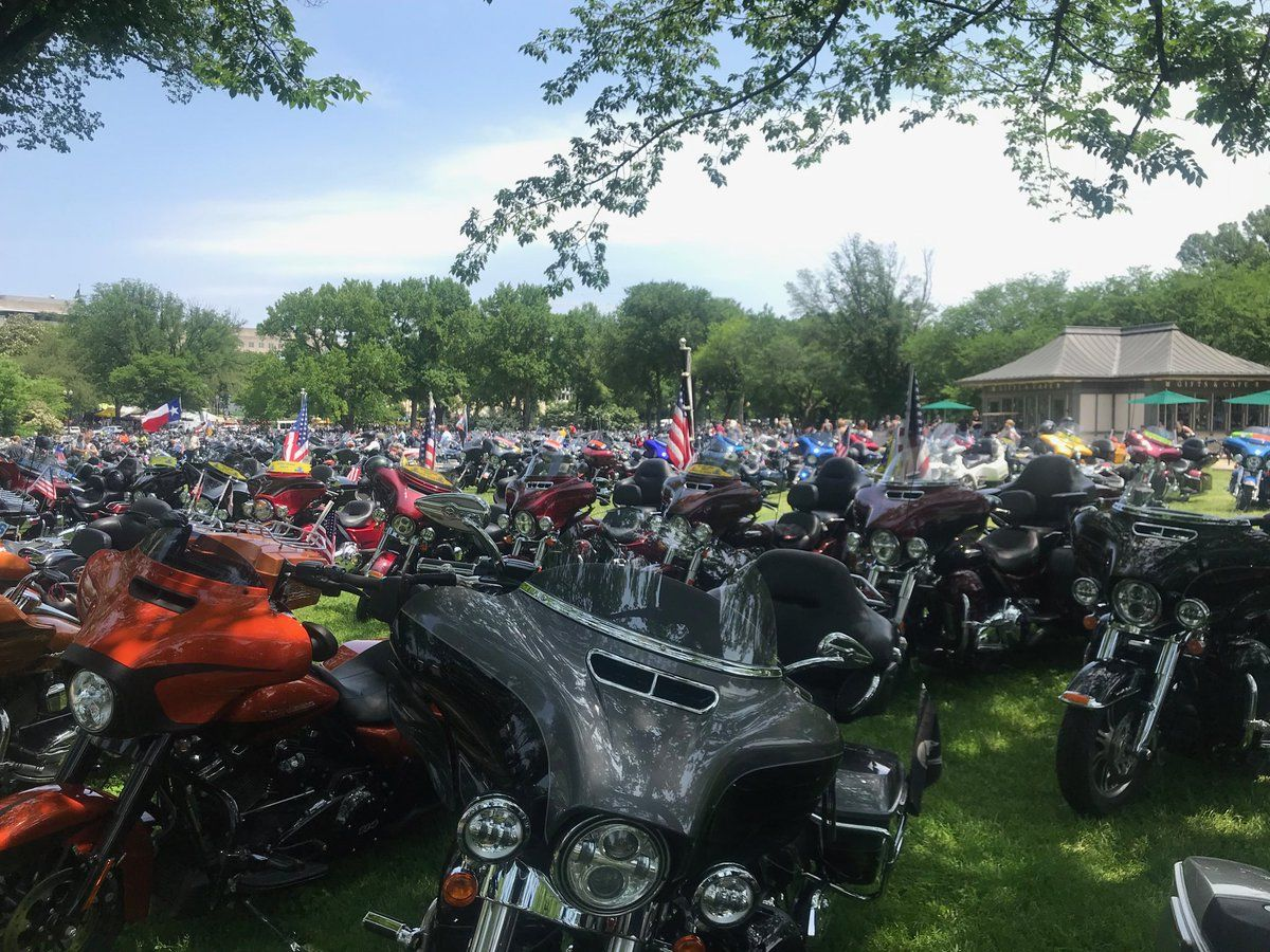 Motorcycles fill the areas around the National Mall fro the 2019 Rolling Thunder event. (WTOP/Dick Uliano)