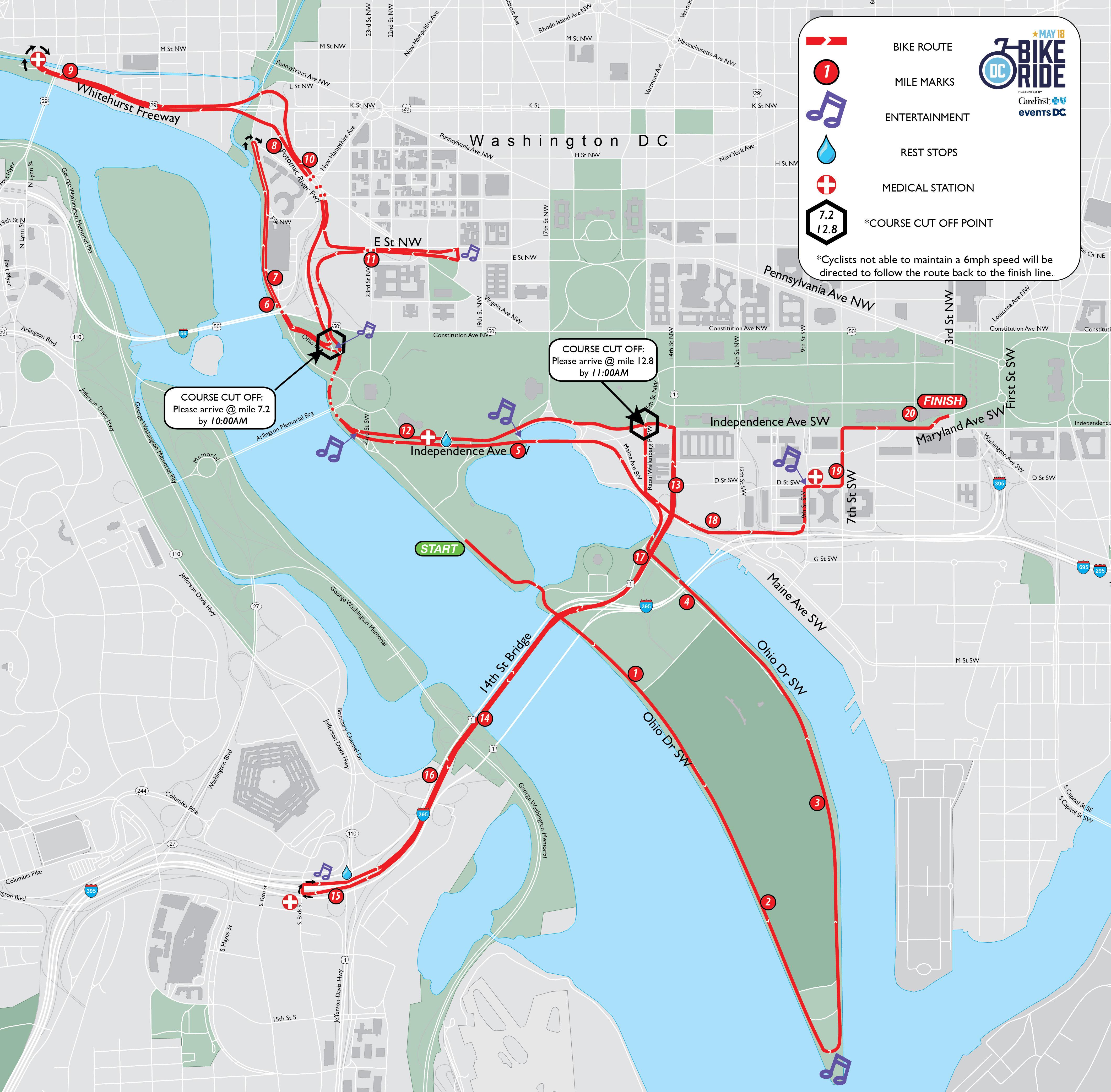 DC Bike Ride brings weekend street closures | WTOP Dc Bike Map on