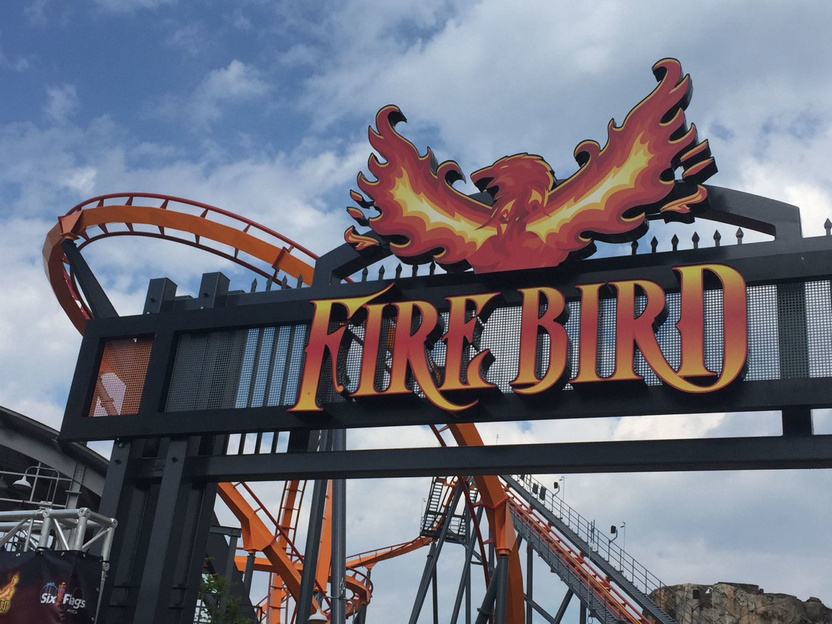 Loops, helixes and fire -- the Firebird, at Six Flags in Prince George's County, is for fans. (WTOP/John Domen)