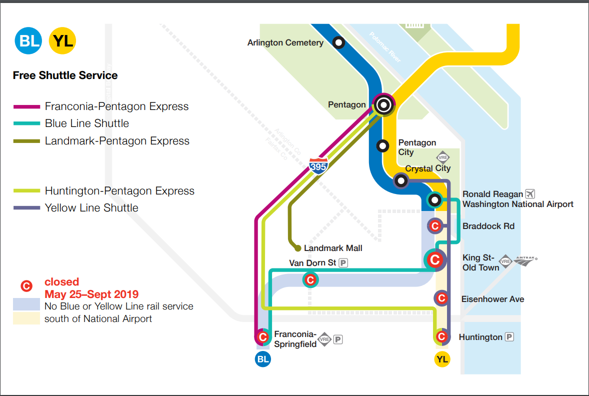 For riders heading to or from the Pentagon or destined for points north like Rosslyn or the District, three express shuttle buses are planned. (Courtesy Metro)