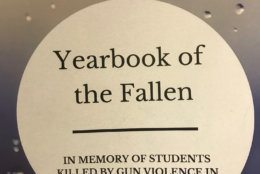"""They also handed out a """"Yearbook of the Fallen"""" at lawmakers' offices, which includes pictures of 28 students killed at schools in 2018. (WTOP/Mitchell Miller)"""